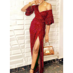 Sequins Long Sleeves Sheath Maxi Sexy/Party Dresses