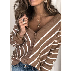 Striped Ribbed V-Neck Sweaters