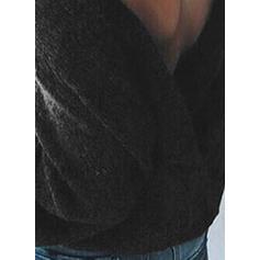 Jednolity Masywna dzianina Dekolt w kształcie litery V Swetry