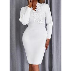 Jednolity Koronka Długie rękawy Dropped Shoulder Pokrowiec Długośc do kolan Nieformalny Sweter Sukienki