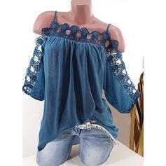 Jednobarevný Krajka Odhalená Ramena 1/2 rukávy Neformální Bluze