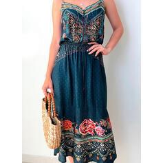 Print/Floral Sleeveless A-line Slip/Skater Casual/Vacation Midi Dresses
