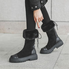 Women's Suede PU Chunky Heel Mid-Calf Boots Snow Boots With Lace-up shoes