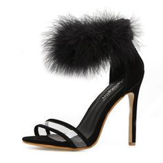 Women's PU Stiletto Heel Sandals Pumps Peep Toe With Fur shoes
