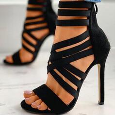 De mujer PU Tacón stilettos Salón Encaje Tacones con Cremallera Vendaje Color sólido zapatos