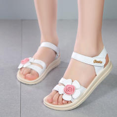Girl's imitatieleer Peep Toe Sandalen Flats met Velcro