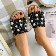 Mulheres Pano Sem salto Sandálias Chinelos com Pérola Imitação sapatos