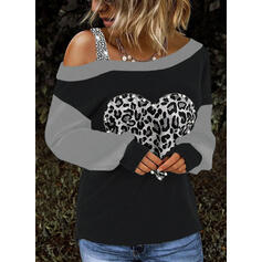 Color Block Sequins Leopard Beaded One-Shoulder Long Sleeves Casual Blouses