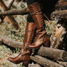 Vrouwen PU Chunky Heel Pumps Laarzen met Vastrijgen schoenen