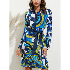 Geometric Print Short Sleeves Sheath Knee Length Casual Shirt Dresses