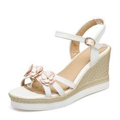 Frauen PU Keil Absatz Sandalen Keile Peep Toe Slingpumps mit Blume Schuhe