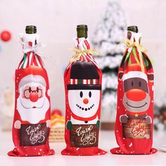 Wesołych Świąt Bałwan Renifer Święty Tkanina Pokrywa butelki