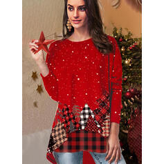 Christmas Print Plaid Round Neck Long Sleeves Casual Blouses