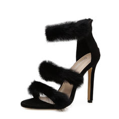 Women's Suede Stiletto Heel Sandals Pumps Peep Toe With Zipper Fur shoes