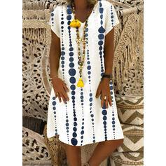 Print Short Sleeves Shift Knee Length Casual/Vacation Dresses
