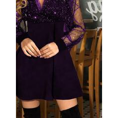 スパンコール/固体 長袖 Aラインワンピース 膝上 リトルブラックドレス/パーティー スケーター ドレス