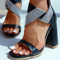 Femmes PU Talon bottier Sandales À bout ouvert avec Strass chaussures