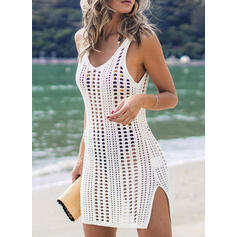 Solid Color Mesh V-Neck Bohemian Cover-ups Swimsuits