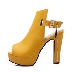 Donna Similpelle Tacco spesso Stiletto Piattaforma con Fibbia scarpe