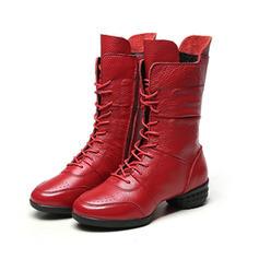 Femmes Vrai cuir Talon bottier Bottes mi-mollets avec Lanière tressé Semelle chaussures