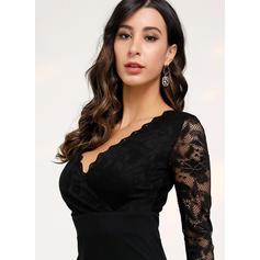 Dentelle/Couleur Unie Manches Longues Moulante Longueur Genou Petites Robes Noires/Décontractée/Élégante Robes
