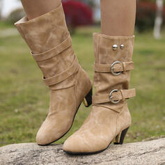 Women's PU Chunky Heel Mid-Calf Boots With Rivet Buckle shoes