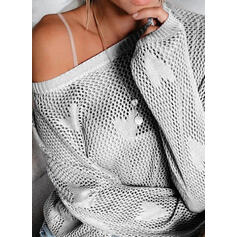 Solid Heart Round Neck Casual Sweaters