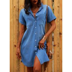 Solid Short Sleeves Shift Above Knee Casual/Denim Shirt Dresses