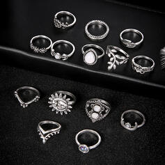 Vintage Boho Alloy With Moon Sun Leaf Rings (Set of 14)