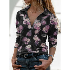 Stampa Floreale Risvolto Maniche lunghe Casuale Shirt and Blouses