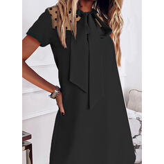 Solid/PolkaDot/Bowknot Short Sleeves Shift Above Knee Little Black/Casual Tunic Dresses