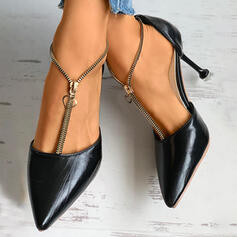 Women's PU Stiletto Heel Pumps With Zipper Solid Color shoes