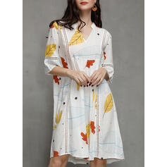 Print 3/4 Sleeves/Flare Sleeves Shift Knee Length Casual/Vacation Dresses