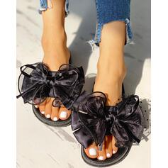 Women's Fabric Mesh Flat Heel Sandals Peep Toe Slippers With Bowknot shoes