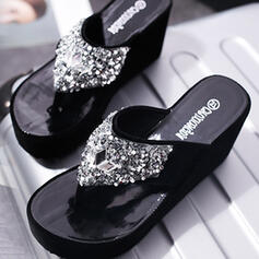 Women's Suede Wedge Heel Sandals Peep Toe Flip-Flops Slippers With Rhinestone Sequin shoes
