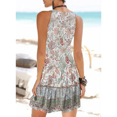 Print Sleeveless A-line Above Knee Casual/Boho/Vacation Slip Dresses