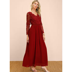 Lace/Solid Long Sleeves A-line Skater Sexy/Party Maxi Dresses