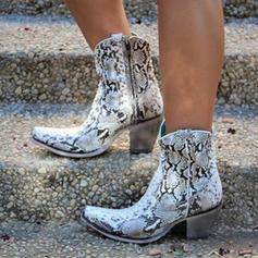 Női PU Chunky sarok Magassarkú Csizma -Val Animal Print Cipzár cipő