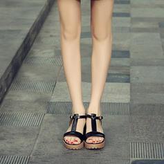 Frauen PU Stämmiger Absatz Sandalen Absatzschuhe Plateauschuh Peep Toe Slingpumps mit Schnalle Schuhe