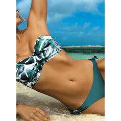 Floral Bandeau Drawstring Strapless Elegant Colorful Bikinis Swimsuits