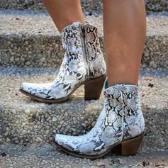 Women's PU Chunky Heel Pumps Boots With Animal Print Zipper shoes
