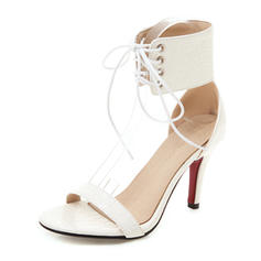 Women's Leatherette Stiletto Heel Sandals Pumps Peep Toe Mary Jane With Lace-up shoes