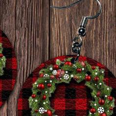 Kerstmis Kerstkransen Legering PU Vrouwen Oorbellen 2 STUKS
