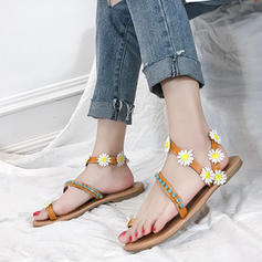 Women's PU Flat Heel Sandals Flats With Flower shoes