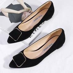 Femmes Suède Talon plat Bout fermé Chaussures plates avec Boutons