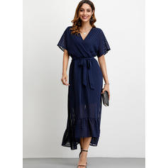 Solid/Striped 1/2 Sleeves A-line Asymmetrical Party Dresses