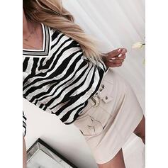 Striped V-Neck Long Sleeves T-shirts