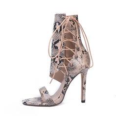 Femmes PU Talon stiletto Escarpins Bottes À bout ouvert Bottes mi-mollets avec Zip Dentelle chaussures