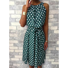 PolkaDot Sleeveless A-line Knee Length Casual Dresses