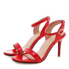 Women's Patent Leather PU Stiletto Heel Sandals Pumps Peep Toe Slingbacks With Buckle shoes